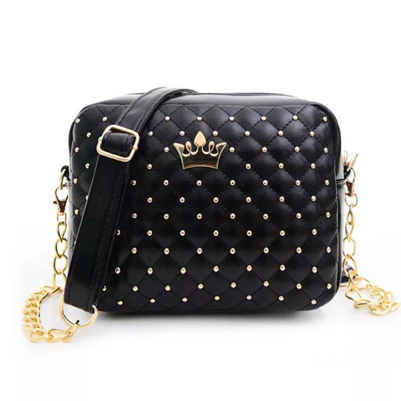 b0675a502111 2019fashion New Women Handbags Candy Color Sweet Lady Pu Leather Rivet  Square Bag England Retro Crown Lozenge Chain Shoulder Bag Over The Shoulder  Bags Hobo ...