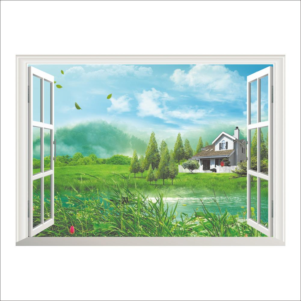 3D False Window Wall Decor Wetland Cabin Wall Stickers Drawing Room Bedroom  Home Decor DIY Scenery Poster Mural Wallpaper Wall Decals