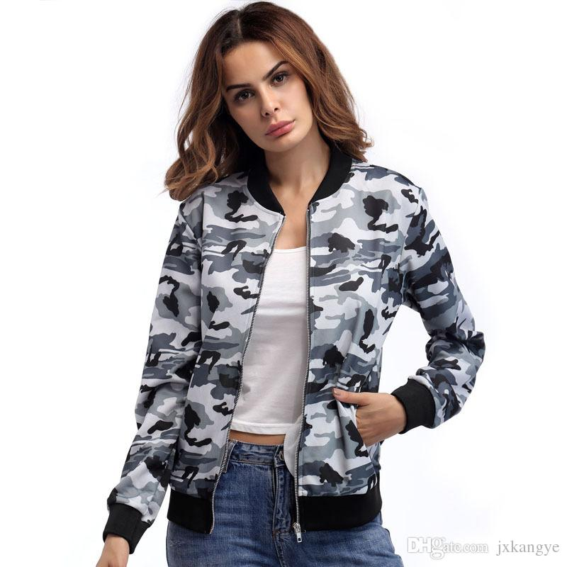 5f258862f E-BAIHUI Bomber Jacket Women Camo Camouflage Print Jacket Spring Fashion  Biker Basic Jacket Coats Zipper Outwear Casual Streetwear 5348