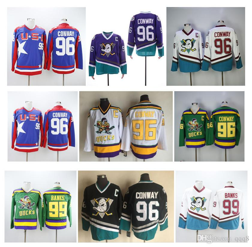 fb5e33a83 2019 NHL Mighty Ducks Jersey 96 Charlie Conway 99 Adam Banks Team USA Green  White Blue Purple 1993 94 The Mighty Ducks Of Anaheim Movie Jersey From  Qqq8