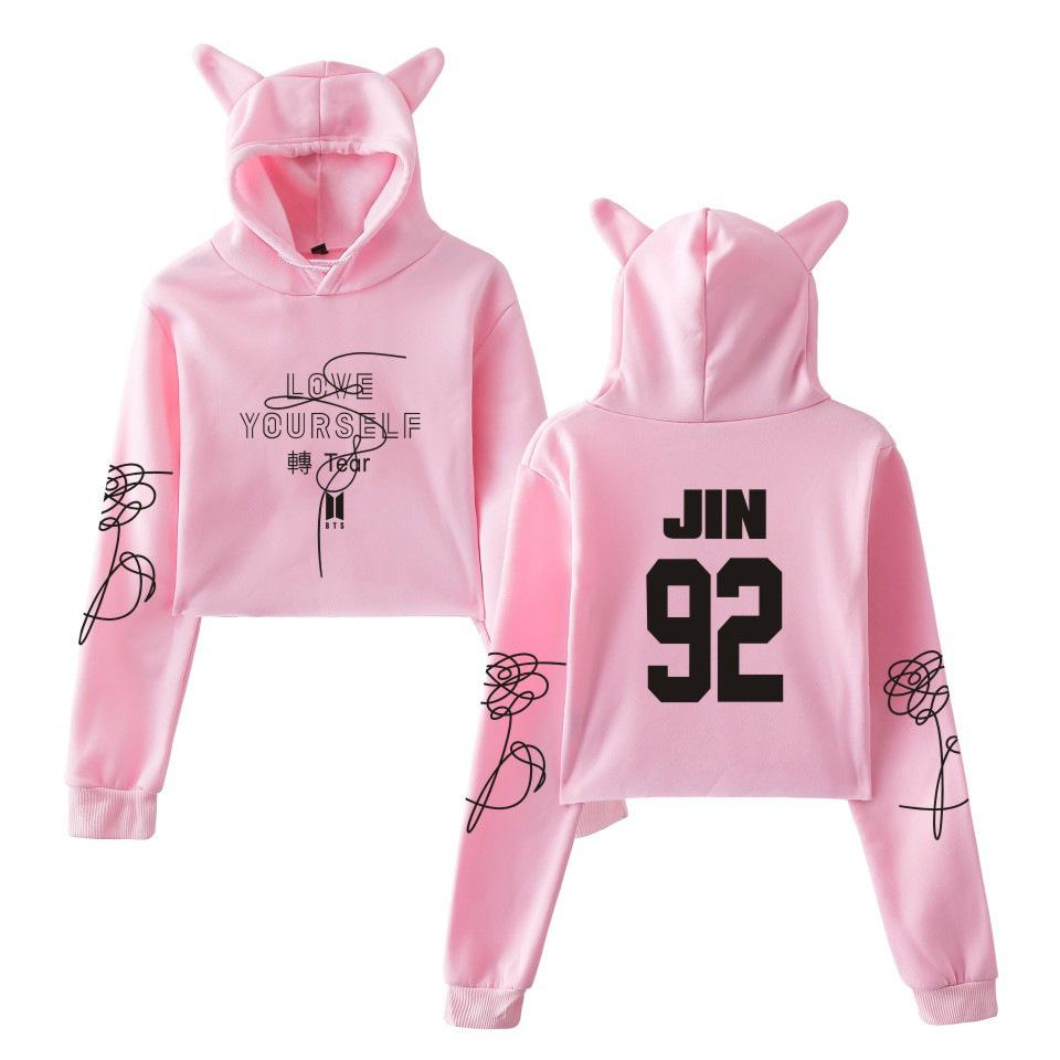 BTS Name Love Yourself Print Cropped Hoodies with Cat Ear Hat Women Long Sleeve Hooded Sweatshirt Crop Tops Clothes Kpop Hoodie