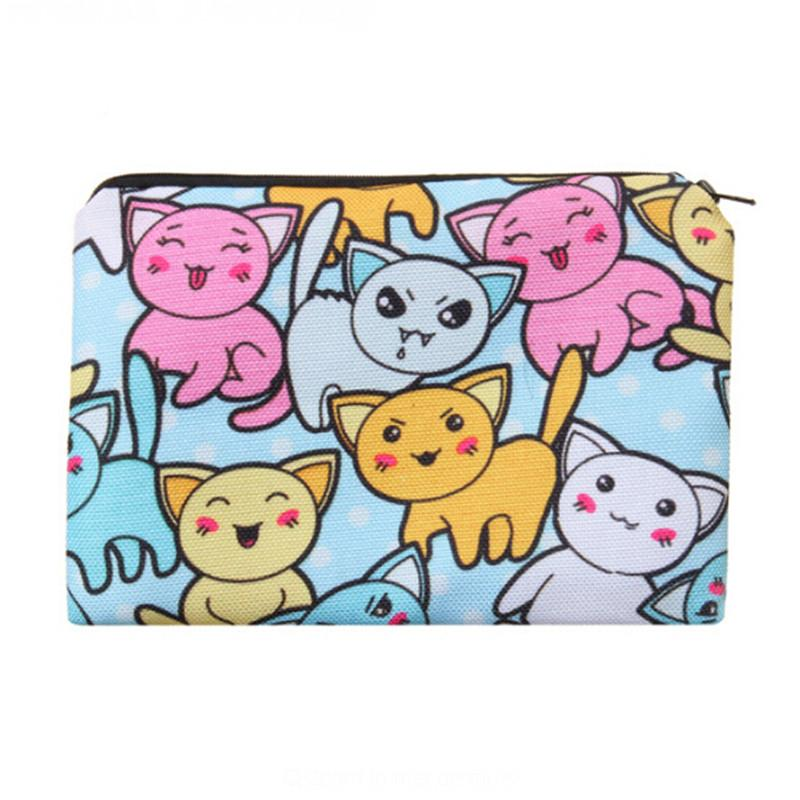 1Pcs Cartoon Cats Portable Girls Travel Makeup Bag High Quality Cosmetic Storage Case Women Make up Bags Brand Pencil Pouch