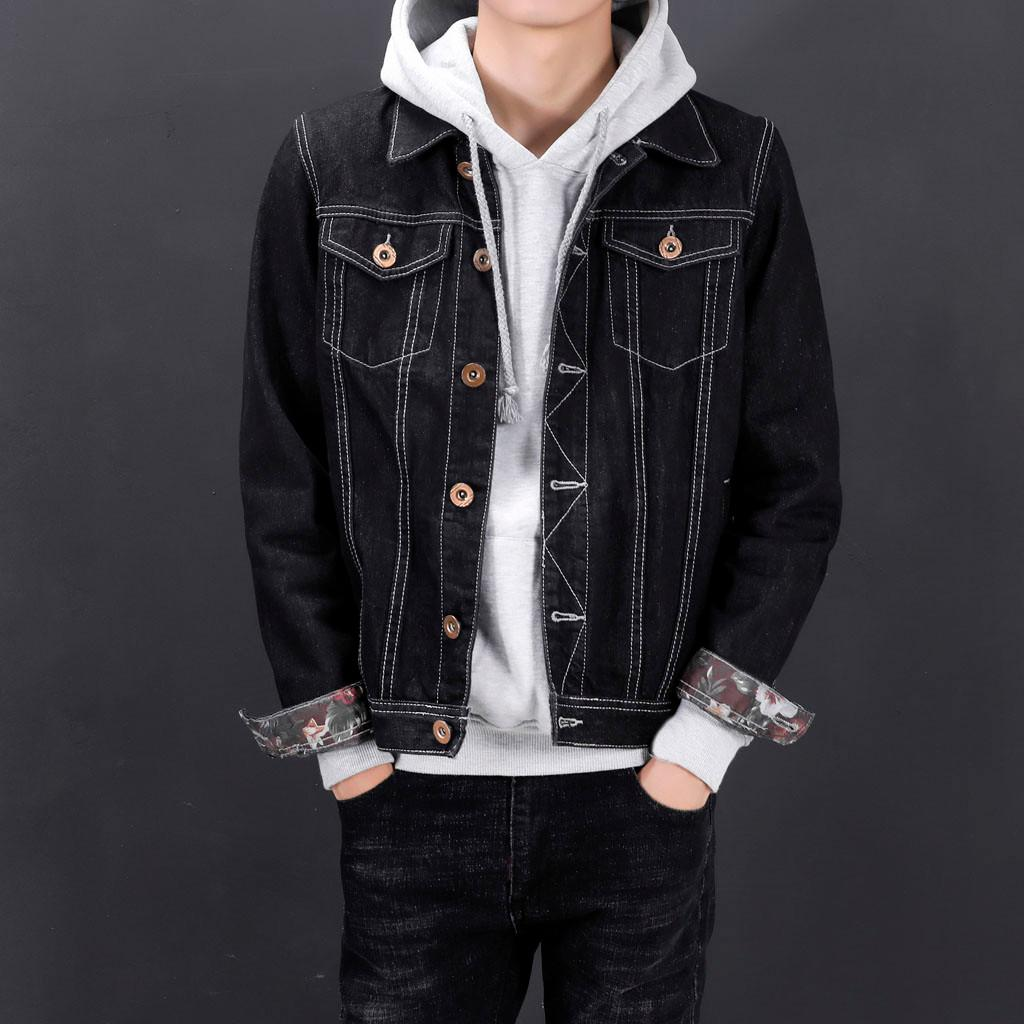 8b8fe9c85c Mens Denim Jean Jacket Men Denim Jackets Jeans Jacket Men Winter Long  Sleeve Sweatshirt Tops Blouse Outwear Coat  g8 Men Jackets And Coats Coat  Jackets From ...