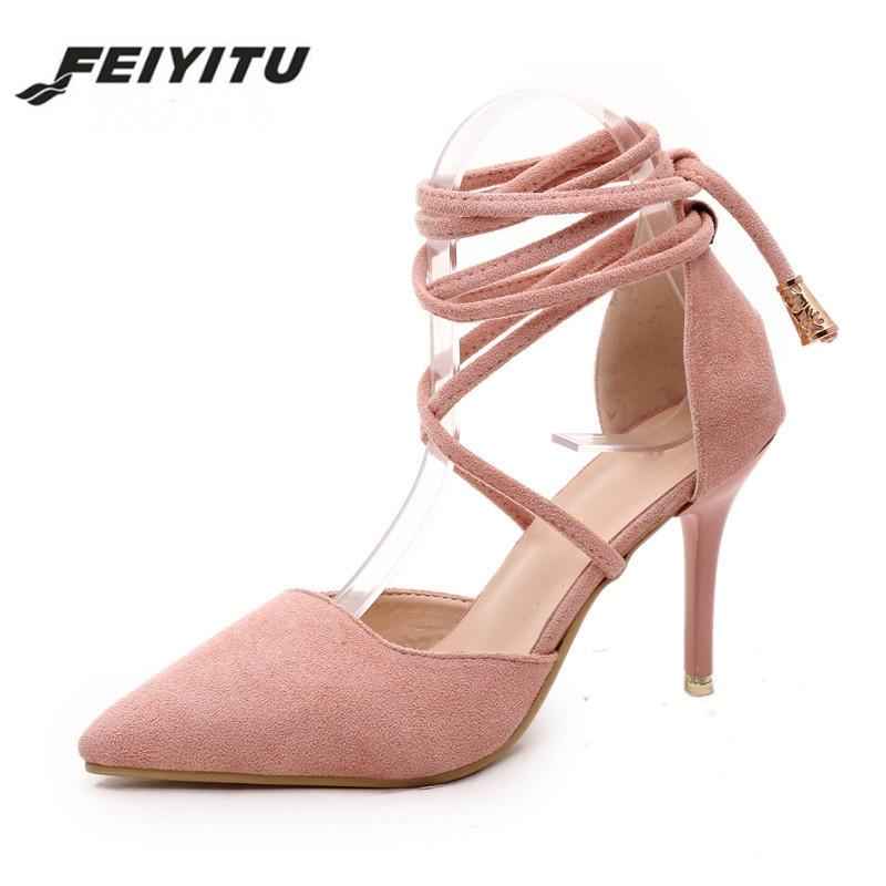 f4699843b377 Feiyitu Spring Summer Style Pumps Gladiator Women Sandals Ankle Strap High  Heels Shoes Shallow Cross Tied Pointed Toe Lace Up Wedge Shoes Casual Shoes  For ...