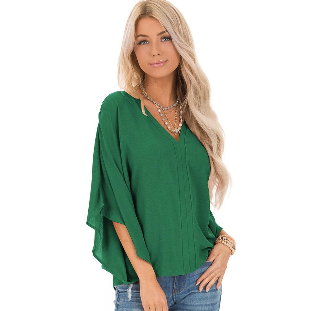 Fashion Lady Designer T Shirt Solid Color Jacket Women's Simple V-neck Bat Sleeve Casual Fashion T-shirt hot