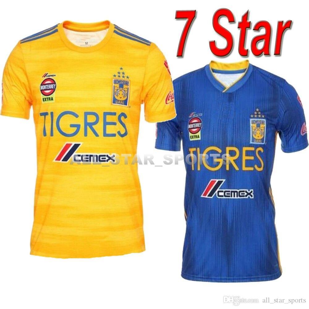 the latest 1d63a 2bcad 7 Star 19 20 NAUL Tigres UANL Soccer Jersey GIGNAC VARGAS GUERRON 2019 2020  Camiseta de futbol Mexico Tigres DAMIAN Liga MX Football