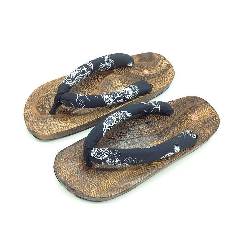 8a7f07fdd10ef Fashion Japanese Men s Spring Summer Autumn Platform Shoes Wood Print Geta  Beach Sandals Geta Wooden Classic Wooden Slip Slipper