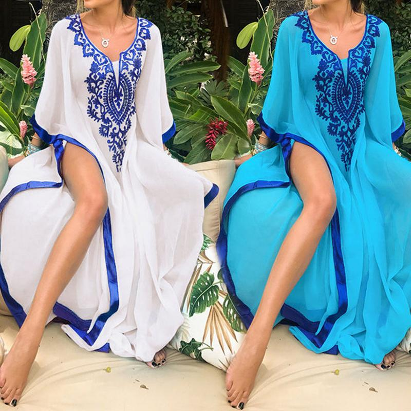 2019 Plus Size Blue Embroidered Summer Beachwear Chiffon Kaftan Beach Woman Tunic Bath Dress Robe Plage Swim Wear Cover Up #q746 Y190726