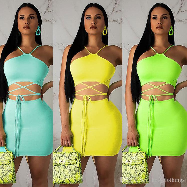 estate halter senza maniche stringate abiti crop top bodycon midi gonne due pezzi set sexy club beach party tuta vestito di colore fluo