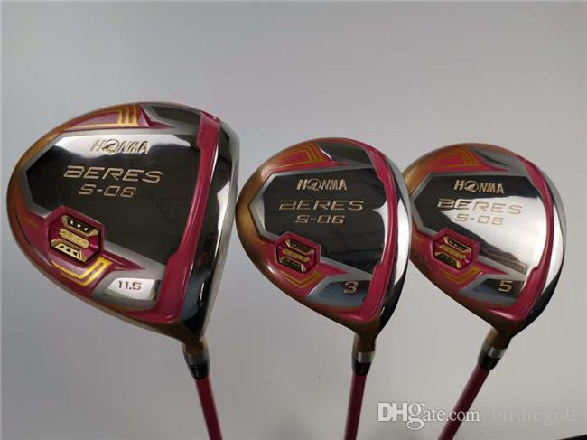 3PCS Honma S-06 Wood Set Honma S06 Golf Woods Women Golf Clubs Driver + Fairway Woods Lady Graphite Shaft With Cover