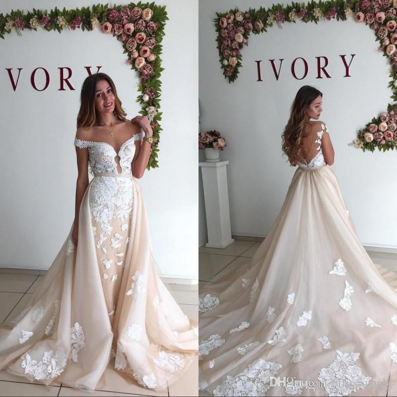 0f8e6fb2b5a51 Robe de mariée jupe amovible Ivoire Vintage 2019 Sexy au large de l épaule  dos nu sirène train amovible dentelle robes de mariée mariée mariée