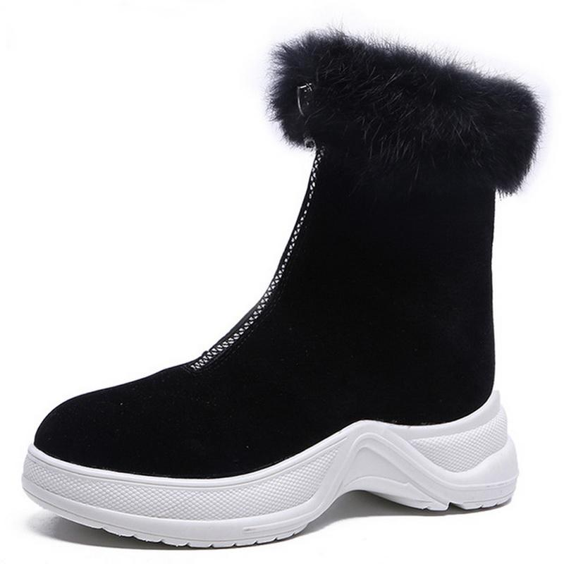 2019 Women Boots Winter NewSnow Boots Sneakers Plush High Top Velvet Cotton Shoes Warm Fashion Lace-up Non-slip High Quality
