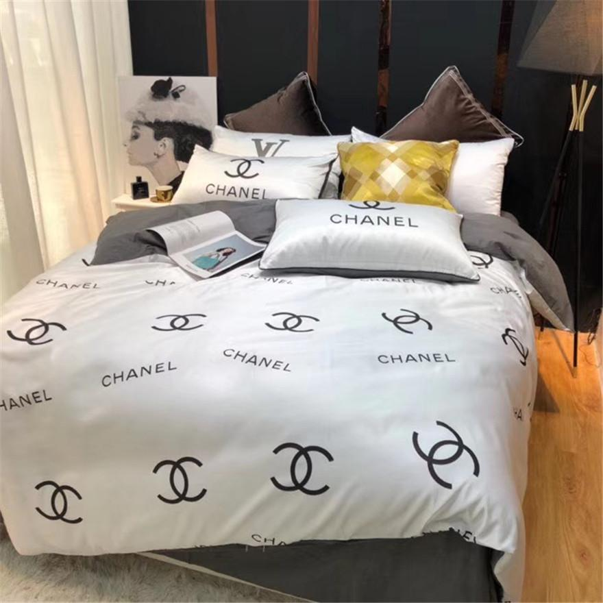 White Yellow X Letter Bedding Suit Full Print Letter Queen Size Bed Cover Duvet Cover Pillowcase Bedsheet 4 Pieces Sets