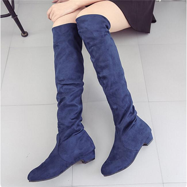 41d09827f2e Women Stretch Faux Suede Thigh High Boots Sexy Fashion Over The Knee Boots  High Heels Woman Shoes Multiple Colour Shoes Ladies Shoes Moon Boots From  Clownie ...