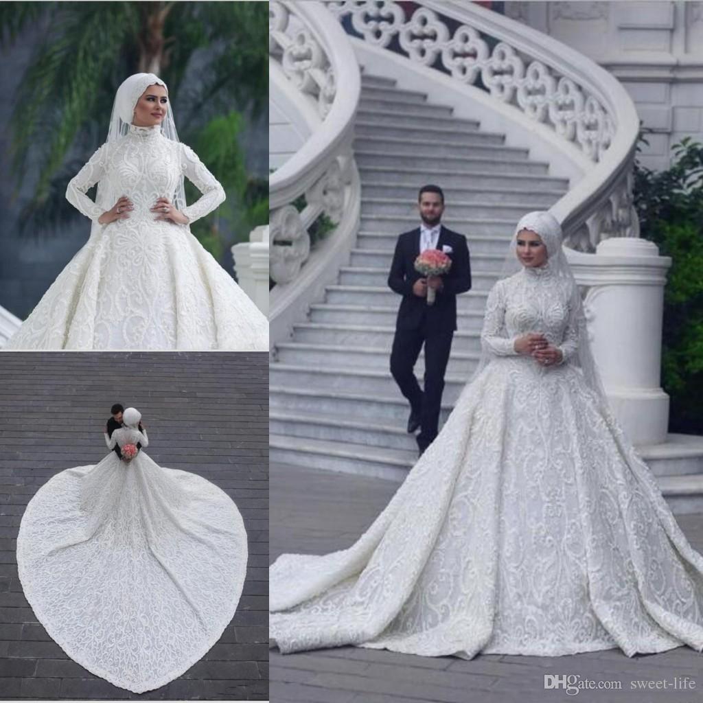 Acheter 2019 Élégant Cou Haut Arabe Hijab Moyen Orient Robes De Mariée  Musulmanes Manches Longues Fait Sur Commande Romantique Appliques Dentelle  Blanche