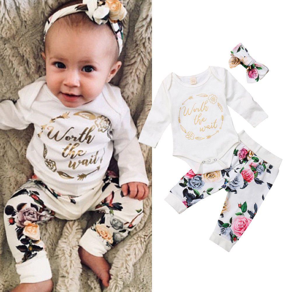 cb4cbbe73048 2019 Floral Baby Girl Letter Print Clothing Romper+Pants+Headband ...