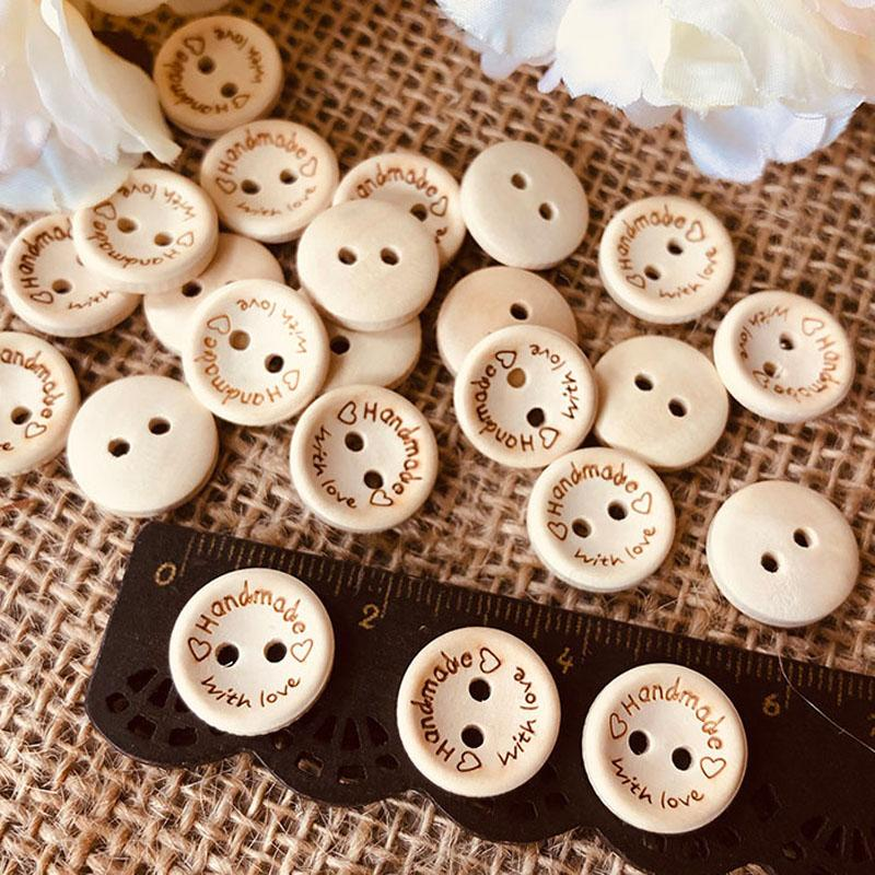 100pcs Natural Color Wooden Buttons 15mm Handmade With Love Round Wood Button for Clothing Craft DIY Apparel Sewing Accessories