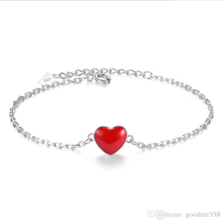 Lucky double-sided red heart peach cross chain creative silver-plated bracelet female angel lovers hand jewelry wholesale