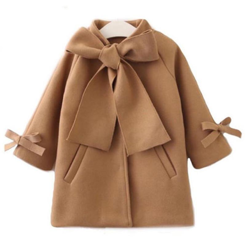 fa7bda39632e CANIS Kids Children Baby Girl Fall Winter Wool Bowknot Coat Outerwear Bow  Wind Cloak Jacket Clothes Warm For Girls Coat Jacket Childrens Quilted  Jackets ...