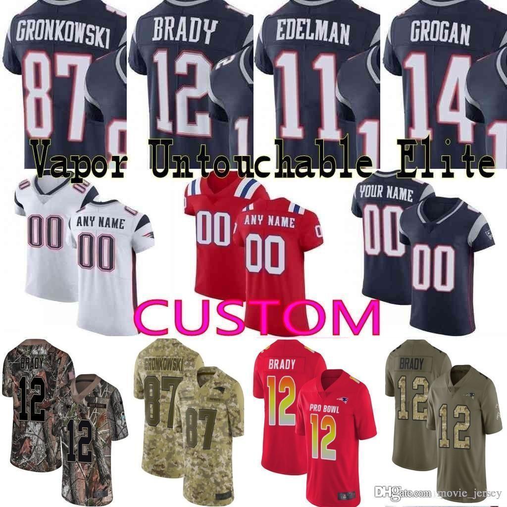 sports shoes e61c6 094de 2019 Pro Bowl custom Men youth women Josh Gordon Tom Brady Rob Gronkowski  Julian Edelman Tedy Bruschi Patriots Camo Elite Limited Jersey