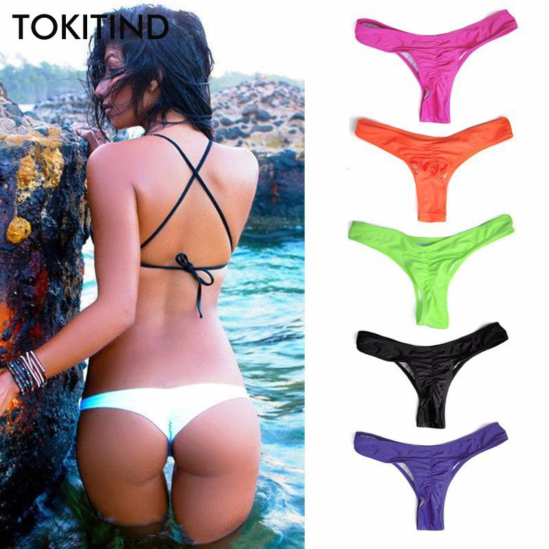 c67fc49e3c6 2019 2019 TOKITIND 2019 Cheeky Bottom Sexy Brazilian Mini Thong V Shape G  String Bikini Beach Underwear Swimwear Briefs Swimsuit Panties From  Pittsburgh, ...