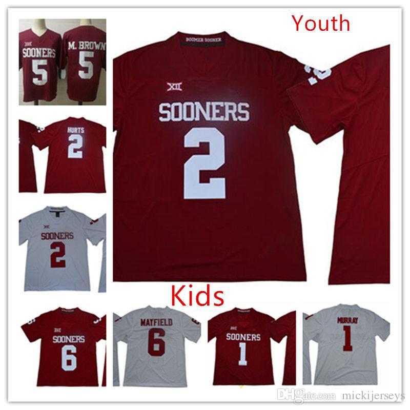 huge discount a7502 b989f Youth NCAA Oklahoma Sooners Kyler Murray Football Jersey Kids Kyler Murray  Marquise Brown Baker Mayfield Jalen Hurts Oklahoma Sooners Jersey