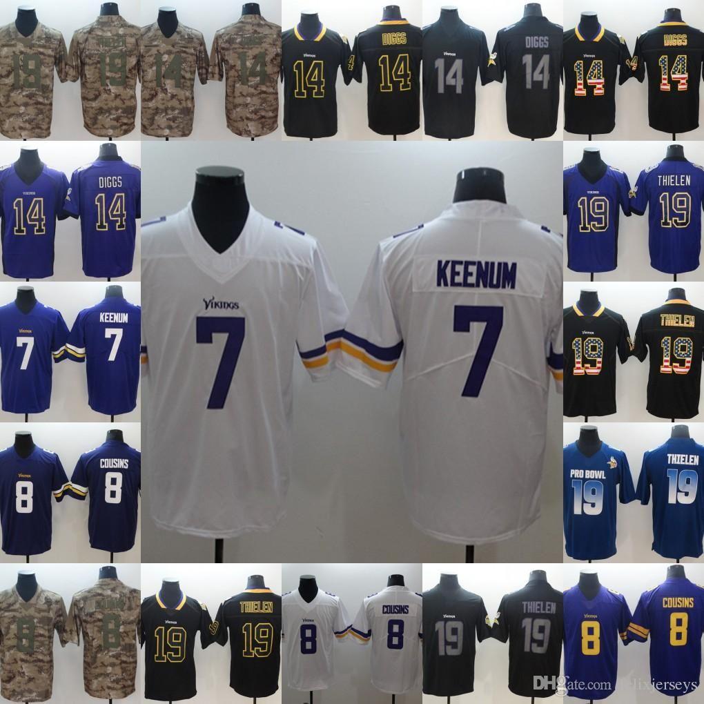 best sneakers 06118 dff72 2019 Vikings New Mens 7 Case Keenum 8 Kirk Cousins 19 Adam Thielen 14  Stefon Diggs jerseys Free Shipping men Football Jerseys