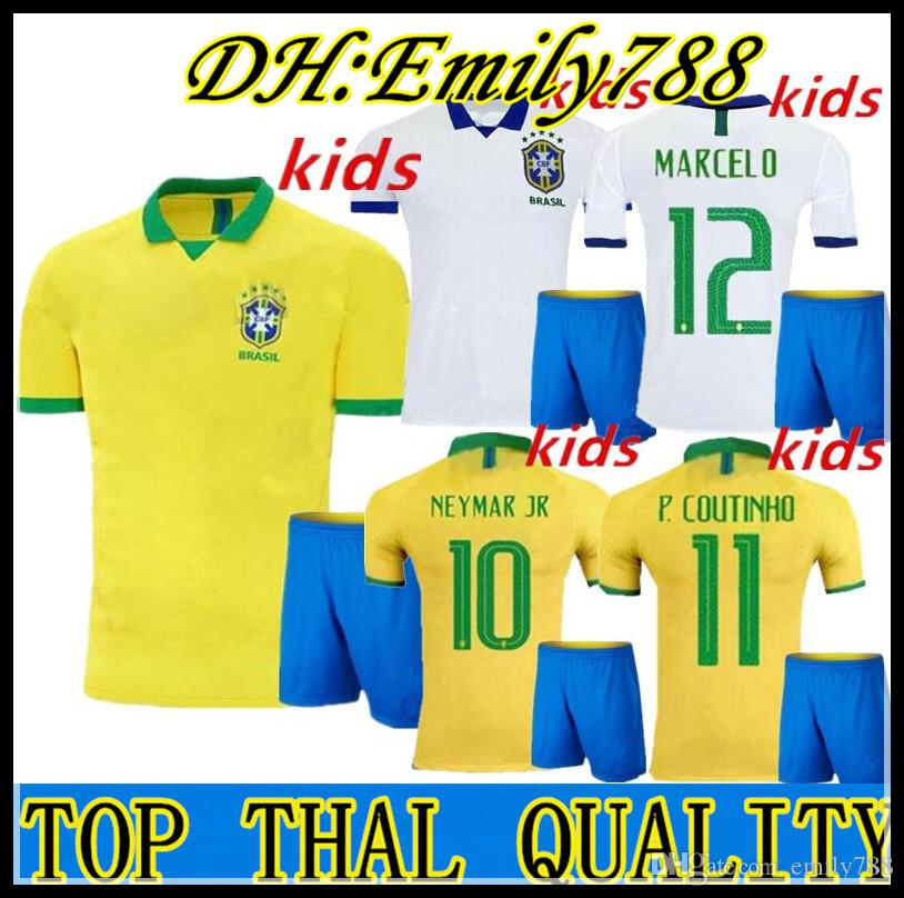 promo code 78922 a17e0 Kids kits 2019 2020 Brazil G.JESUS Soccer Jersey 19 20 MARCELO COUTINHO  youth child brasil Football Jerseys shirt