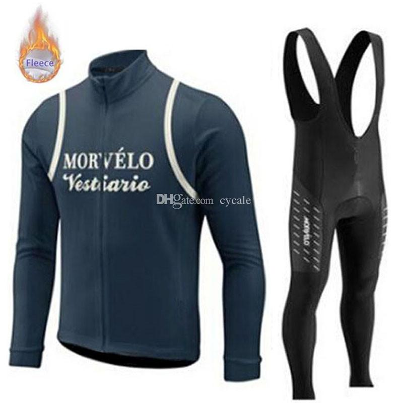 Morvelo team Cycling Winter Thermal Fleece jersey bib pants sets 100% Polyester mens long sleeves Outdoor Keep warm Cycle Clothes