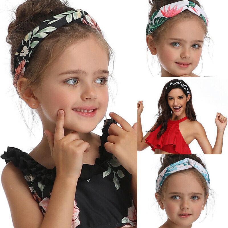 Bastante Cabeza de Boho muchacha de las mujeres Sombreros de época impresión Banda Flor Imprimir bandas de estiramiento elástico Hairband elásticos del pelo de la muchacha Turbans