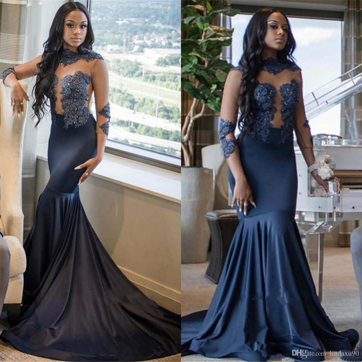 a528d132bf63 Dark Navy 2019 Mermaid Prom Dresses African Long 3/4 Sleeve Lace Beads Evening  Gowns Jewel Neck Plus Size Black Girls Dress Long Red Prom Dresses Long ...