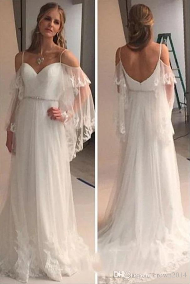 Elegant Boho Spaghetti Strap Tulle Long Sweep Train Lace Wedding Dress Crystal Sash Beach 2019 Country Off-shoulder Bohemian Bridal Gowns