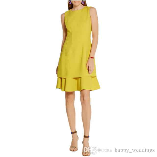 c030a0eae55d5 summer new design women summer O-Neck dress yellow brief A-Line dress  Female Vestido