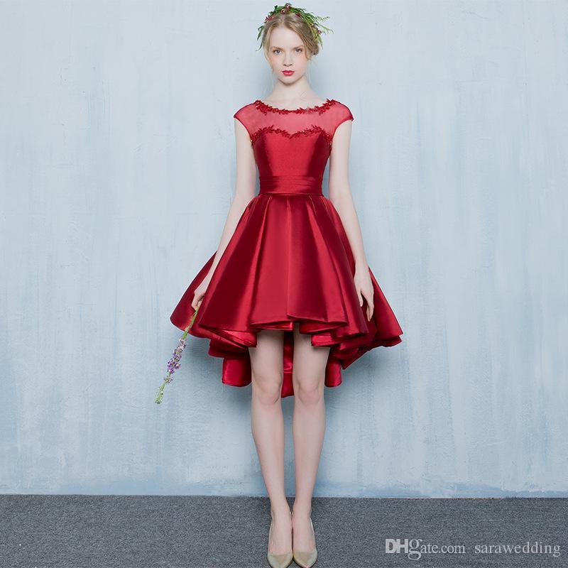 2792ad2bcc0f2 Encolure dégagée dentelle satin haut bas robes de cocktail à lacets 2019  robes de bal élégante marine bleu marine rose rouge