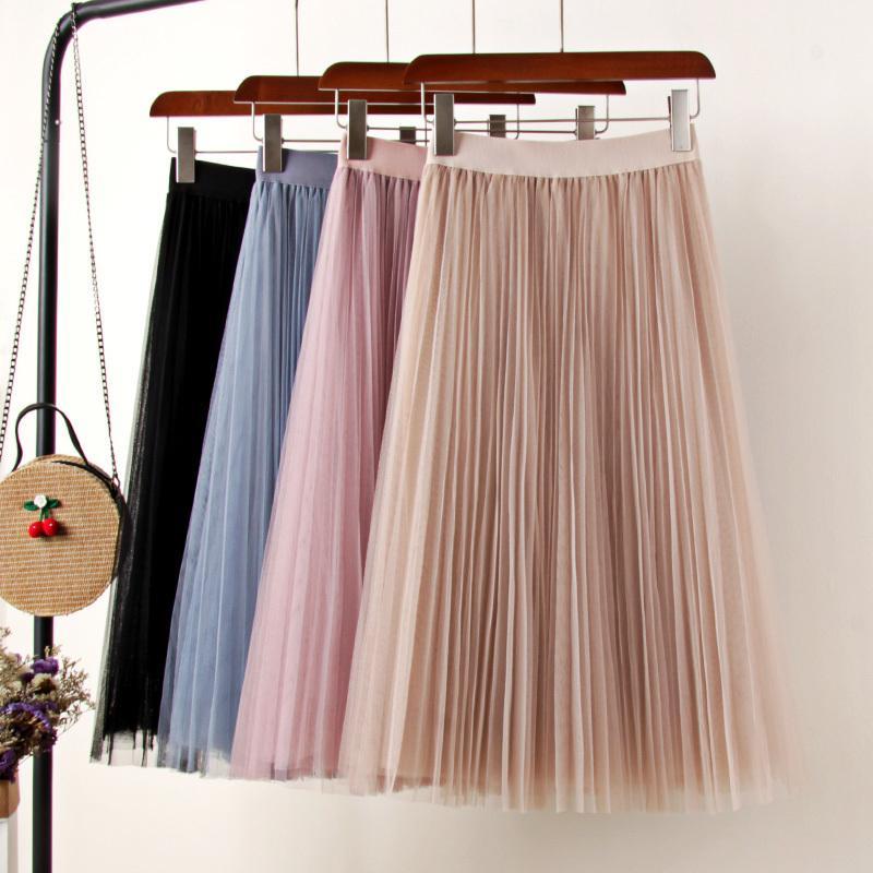 ae18e2f6c Faldas de tul para mujer Midi Falda plisada Negro Rosa Falda de tul Mujer  2019 Primavera Verano Elástico Coreano de cintura alta Malla Tutu