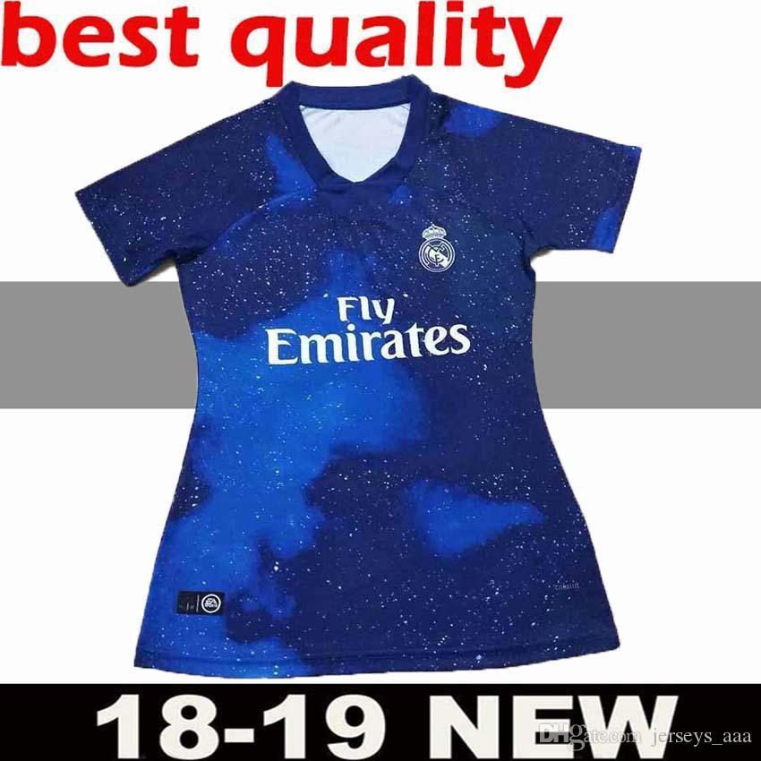 Edición Limitada Real Madrid Mujer Jerseys De Fútbol Azul 2018 19 Real  Madrid EA Deportes Mujer Fútbol Camisetas 2019 Uniformes De Fútbol ASENSIO  Niña Por ... c0b7485dc67cd