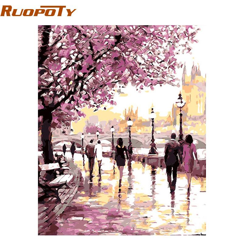 diy oil painting RUOPOTY Frame Cherry Blossoms Road Diy Oil Painting By Numbers Kits Wall Art Picture Home Decor Acrylic Paint On