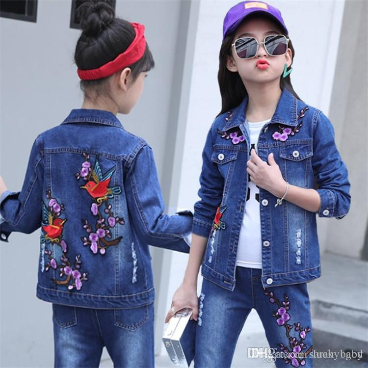 d3b7c5301347 2019 2018 New Children S Clothing Korean Girls Spring Autumn Suit Big Girl  Casual Denim Two Sets Tide Baby   Kids Clothing Sets Online From Lucky god