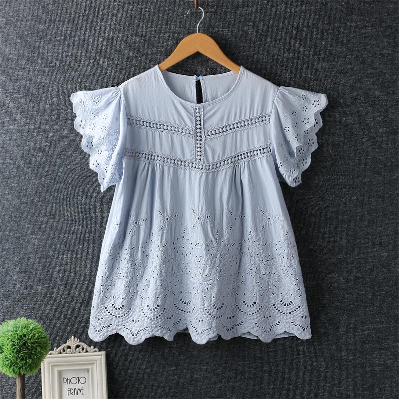 2019 Summer Casual Women Shirts Sweet Mori Girl Round Collar Embroidery Short Doll Shirt Cotton Blouse Noevlty Lolita Shirt Coat