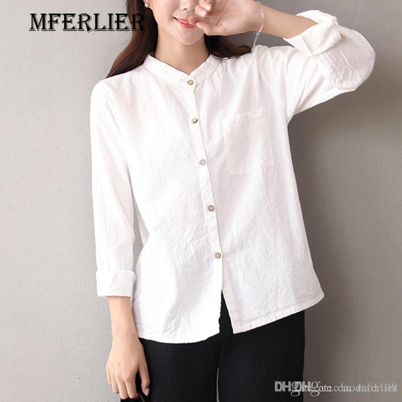8e316351 2019 Autumn Shirts Women Office Blouse Solid White Blue Stand Collar Pocket  Single Breasted Long Sleeve Top From Daodao1108, $16.83 | DHgate.Com
