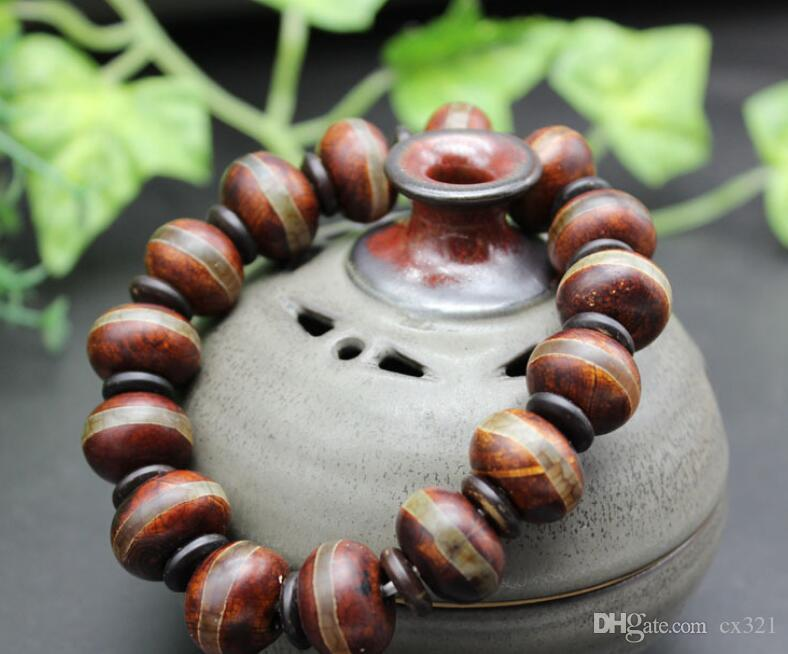 Antique old beads first line agate abacus bead bracelet old chalcedony bracelets wrapped silk imitation old Dzi Beads wholesale