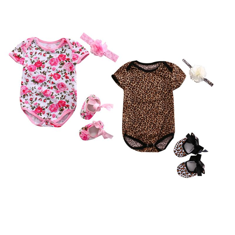 Newborn Toddler Baby Girls Boy Summer Lovely Romper 3PCS Short Sleeve Floral Leopard Print Jumpsuits+Headband+One Pairs Of