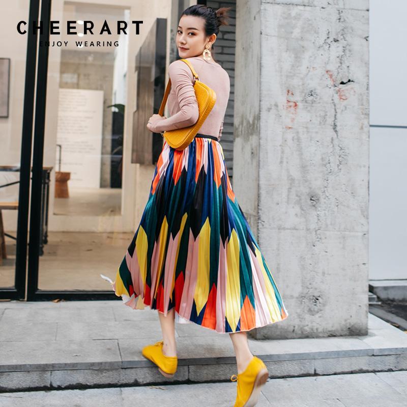 3c6a33e87 Cheerart Faldas Plisadas Moda Mujer 2019 Falda Midi Bloque de Color Falda  de Cintura Alta Largo Colorido Rosa Primavera Señoras Faldas