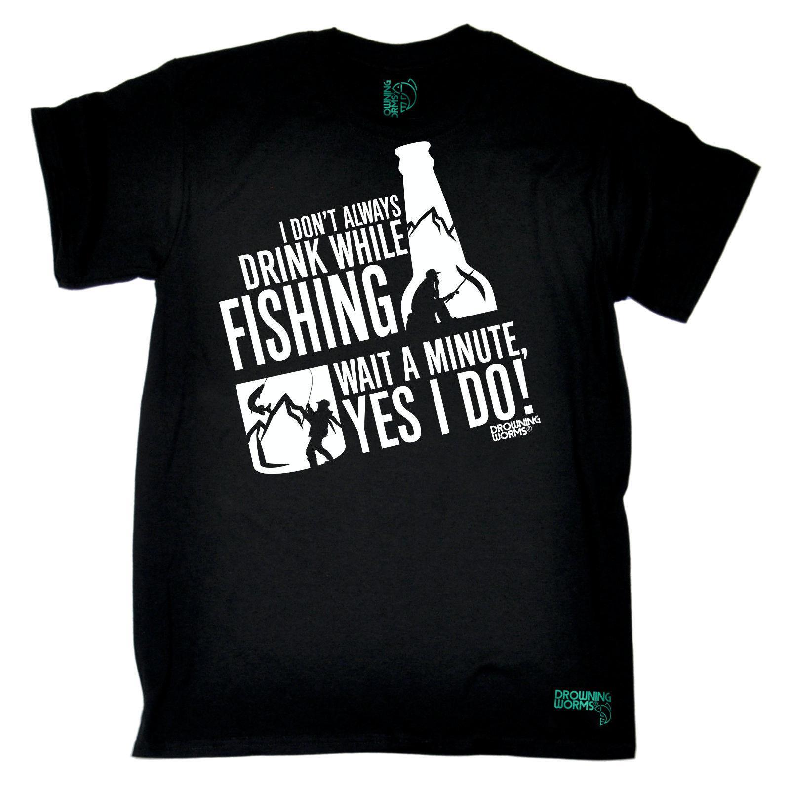 Fishing Drink While Fishing Angling Fish Rod Reel Funny Birthday Tee