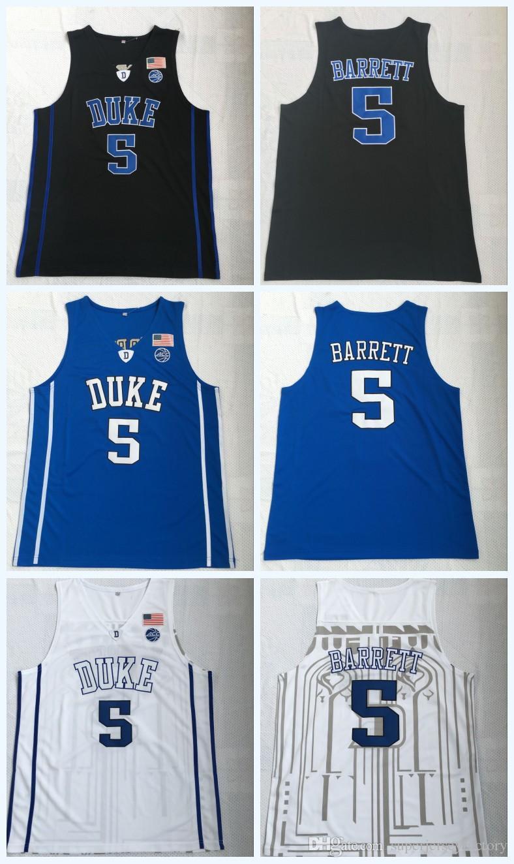 new product 7b09e 55adc 2019 NCAA Duke Blue Devils Jersey 5 RJ BARRETT Blue Black White 100%  Stitched College Basketball Jerseys S-3XL Fast Shipping