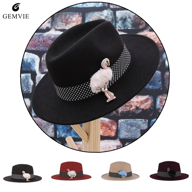 9a1e7940d5f8d Trendy Quality Hats Women Woolen Blend Fedoras New Jazz Cap Dots  Band Flamingo Pendant Wide Brim Panama Hat Outdoor Sunhat Fedoras Cheap  Fedoras Trendy ...