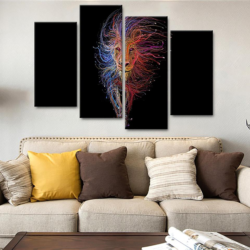 Framework HD Printed Modern Wall Art Canvas 4 Panel Color Lines Abstract Lion Home Decor Living Room Painting Modular Pictures