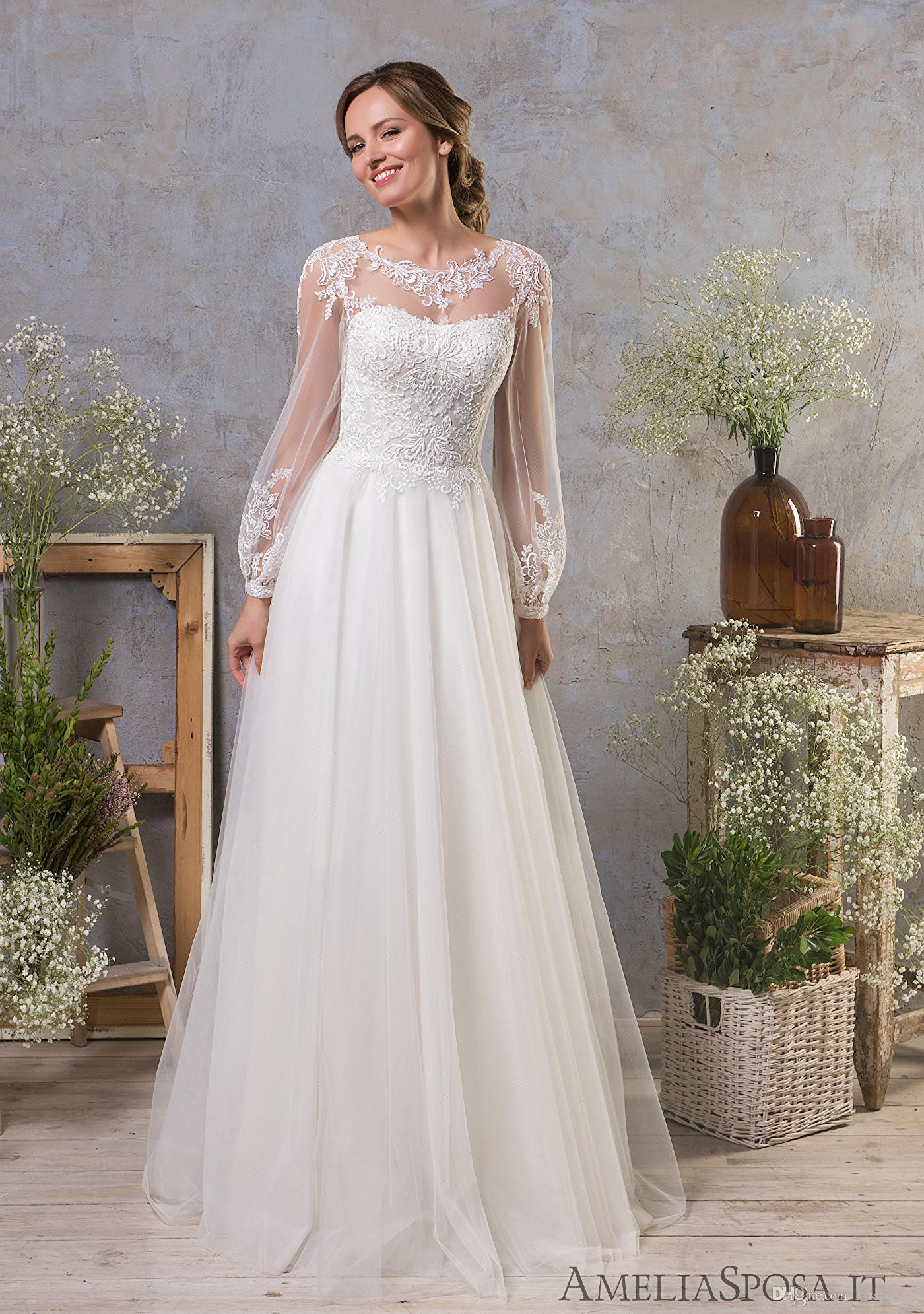 Discount Scoop Neck Wedding Dresses With Full Sleeves 2019 A Line Boho Bridal  Gowns Sheer Illusion Lace Tulle Beach Formal Dress Gown Sweetheart A Line  ... 02acf72ca28c