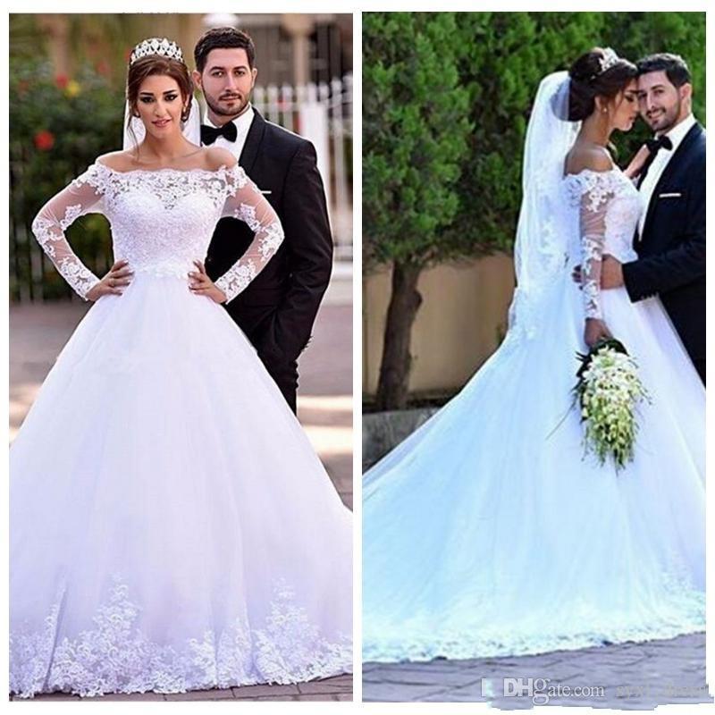 78c76352d36b5 Discount Middle East Modest Country Plus Size Bohemian A Line Long Sleeves  Spring Lace Wedding Dresses Long Bridal Gowns 2019 Vestido De Novia A Line  ...