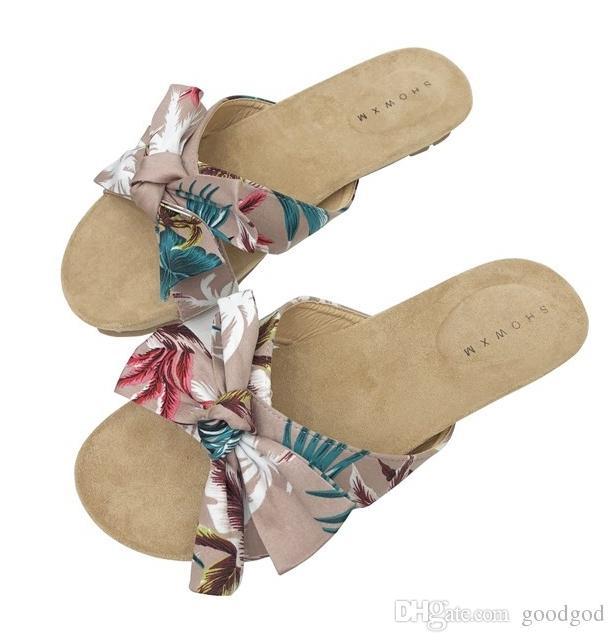 Bowties Nuevo Corcho Sandalias 2019 Casual Color Con Chanclas Estilo Planas De Mujeres Mezclado Verano Playa Diapositivas Zapatos Zapatilla A43jLq5R